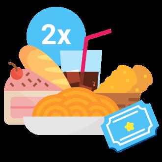 2 Entradas (mas de 1'31 metros) al parque todo el día,2 Menús del día (Primer plato; segundo plato; pan; bebida y postre),Horario para consumir de 13 a 14.