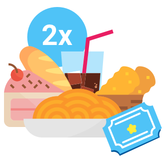 2 All day Tickets (over 1.31 meters) to the park.,2 Set Menus (First course; second course; bread; beverage and dessert),Timetable to be consumed from 13h to 14h.